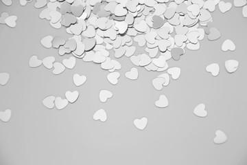 Hearts sparkles valentines day grey background black white 7