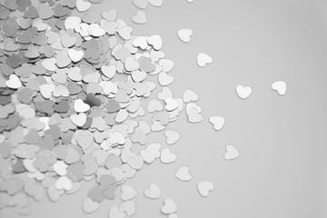Hearts sparkles valentines day grey background black white 6