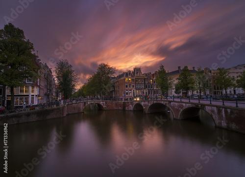 Fotobehang Amsterdam Amsterdam at sunset