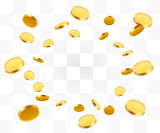 Realistic Gold Coins explosion. Isolated on transparent background. - 171338322