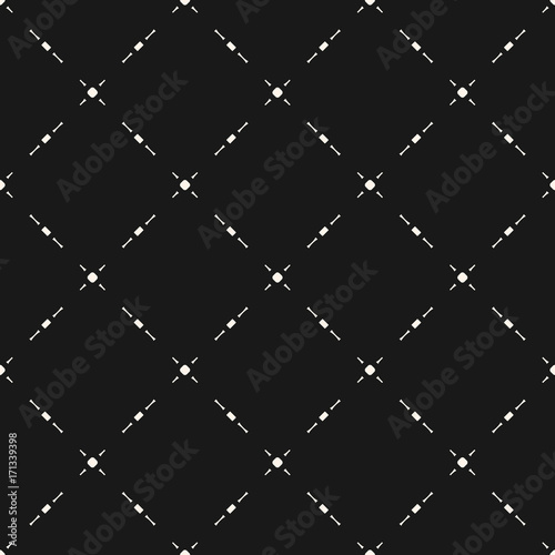 Seamless pattern with small shapes, dots, lines, geometric grid - 171339398