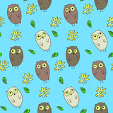 Cute kids seamless pattern with funny cartoon hand drawn owls. Nice childrens texture with confused and thoughtful owls for textile, wrapping paper, background, surface, cover, web design