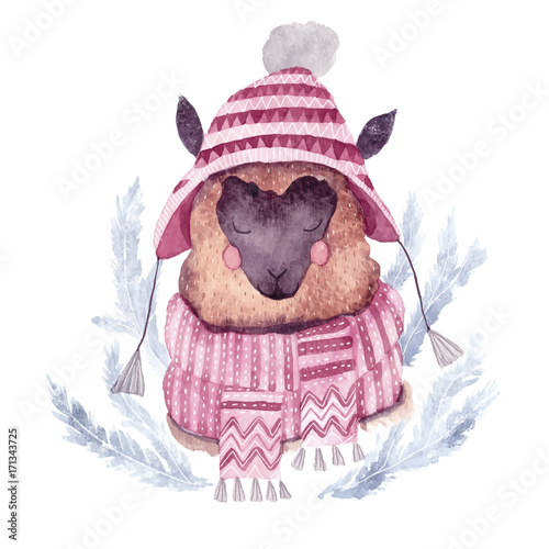 Watercolor vector alpaca illustration. Christmas watercolor animal.Cute kids illustration,perfect for greeting or post cards, prints on t-shirts, phone cases,book and other. Hand drawn baby animal - 171343725