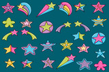 Stars cartoon doodle icon set. Cute elements for party decoration, greeting card,  advertisement, banner, flyer, brochure. Hand drawn vector illustration.