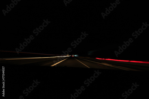 Fotobehang Nacht snelweg LUCES EN LA CARRETERA