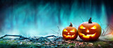 Jack O' Lanterns Glowing At Moonlight In The Spooky Night - Halloween Scene - 171344939