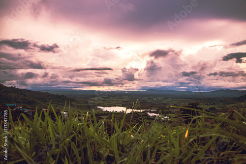 Fotobehang Lichtroze Natural view On the evening sky mountain. Thailand