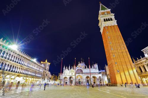 Foto op Plexiglas Venetie View of the St Mark's Square at night in Venice