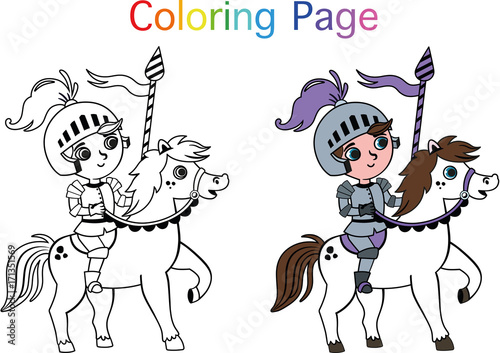 Vector Illustration of  Knight for Painting Activity
