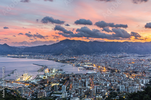 Tuinposter Palermo Aerial view of Palermo at sunset, Italy