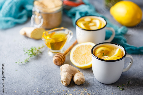 Cups of ginger tea with honey and lemon Poster