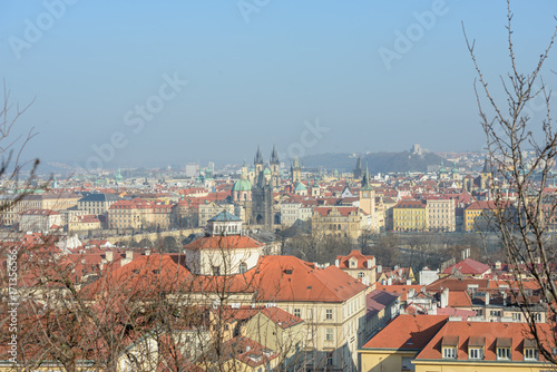Papiers peints Prague View of old Prague towards Charles Bridge from Petrin hill.
