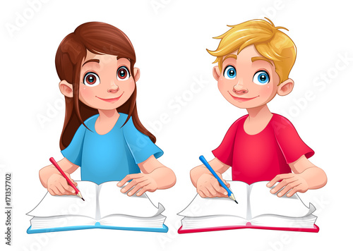 Papiers peints Chambre d enfant Young students boy and girl with books and pencils