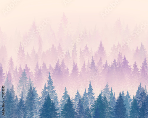 Naklejka dekoracyjna Forest in the fog. Minimalistic illustration. Digital drawing.