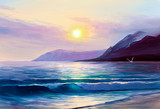 Morning on sea, wave, illustration, oil painting on a canvas. - 171360784