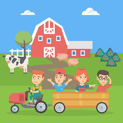 Little caucasian boy driving a tractor with his friends in hindcarriage in the farm. Children enjoying a ride in a tractor in the backyard of farm. Vector sketch cartoon illustration. Square layout.