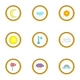 Weather report icons set, cartoon style - 171362322