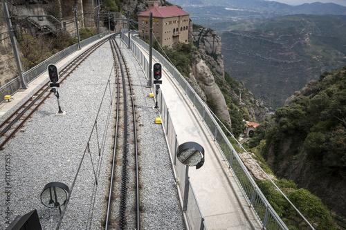 Papiers peints Voies ferrées train-station and railroad of the Cremallera de Montserrat train, Catalonia, Spain