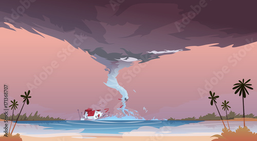 Fotobehang Hoogte schaal Tornado Incoming From Sea Hurricane In Ocean Beach Landscape Of Storm Waterspout Twister Natural Disaster Concept Flat Vector Illustration