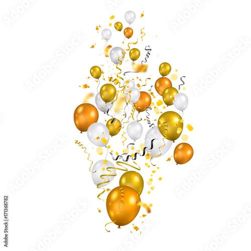 Fridge magnet Gold and white balloons set