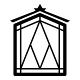 Fairy window frame icon, simple black style