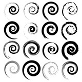 Set of vector spirals isolated on white background. Graphic elements. - 171371538