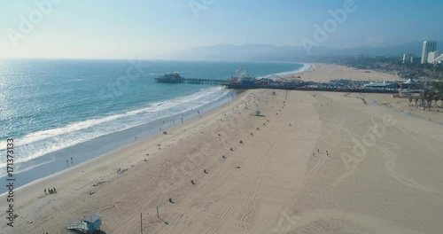 Aerial Drone View of the Santa Monica Pier in Los Angeles, California