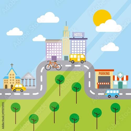 Sticker city buildings road urban street landscape vector illustration