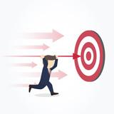 Businessman point arrow on target. Goal achievement concept. Vector illustration.