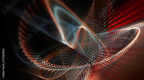 Foto op Aluminium Abstract wave Abstract red and black background. Fractal graphics series. Three-dimensional composition of dots, waves and rays of light. Wide.