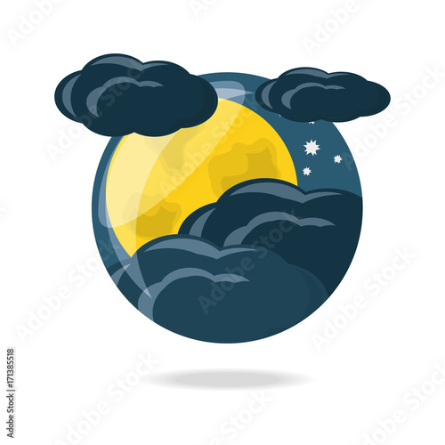 Yellow moon and clouds of night bedtime and sky theme Vector illustration