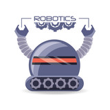 Robot Cartoon Of Robotic Technology And Futuristic Theme  Illustration Wall Sticker