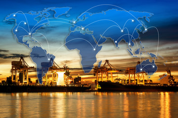 world wide technology connection path with logistics and transportation of container cargo port with working logistic import and export industry.