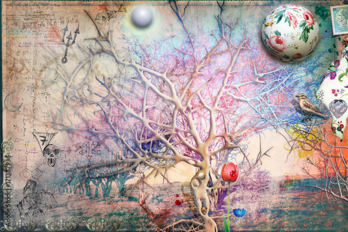 Deurstickers Imagination Giardino dell'eden con albero della conoscenza