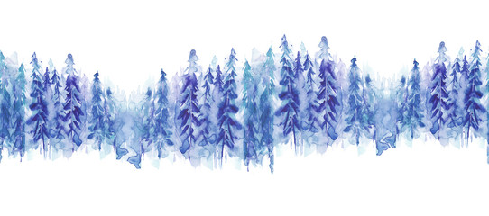 Seamless watercolor linear pattern, border. Blue spruce, pine, cedar, larch, abstract forest, silhouette of trees. On white isolated background. © helgafo