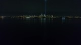 Aerial View of New York City Skyline & Statue of Liberty 9/11 Memorial at Night - 171393508