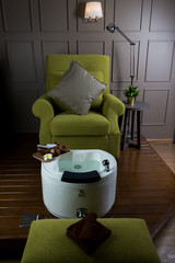 Manicure and pedicure series: Empty pedicure chair in salon