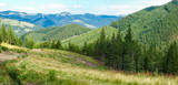 Carpathian landscape with mountain slopes overgrown with forest