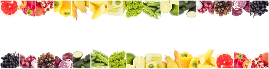 Line from different colored vegetables and fruits