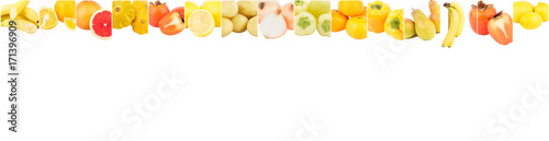 Fotobehang Verse groenten Lines from different yellow vegetables and fruits, isolated