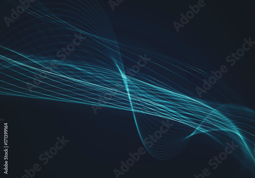 Tuinposter Abstract wave Abstract blue background with lines and dots connected flow
