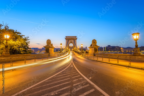 Budapest sunrise city skyline at Chain Bridge, Budapest, Hungary Poster