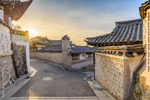 Seoul sunrise city skyline at Bukchon Hanok Village, Seoul, South Korea Poster