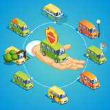 Isometric Car Insurance Round Concept - 171404124