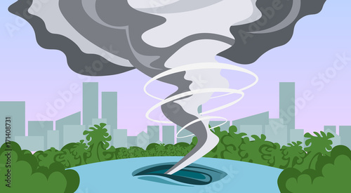 Tuinposter Purper Tornado In Countryside Hurricane Landscape Of Storm Waterspout Twister In Field Natural Disaster Concept Flat Vector Illustration