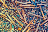 Abstract grunge metallic background from parts and tools