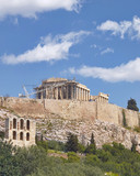 Athens Greece, ancient temple on acropolis hill, view from the south - 171413125