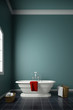 Modern bath tub in front of wall with towels and window upright 3d rendering