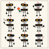 Set Emoticon Blackgray Robot  Different Emotions   Robots In Various Poses In Cartoon Style Wall Sticker