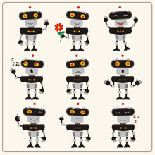 Set Emoticon Blackgray Robot  Different Emotions   Robots In Various Poses In Cartoon Style Sticker